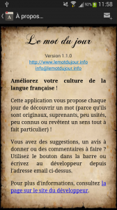 Informations sur l'application dans la version 1.1.0