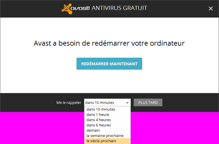 Message de rappel d'Avast