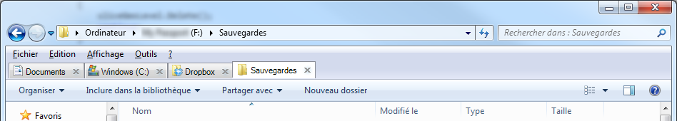 QTTabBar en action sur Windows 7 (64 bits).