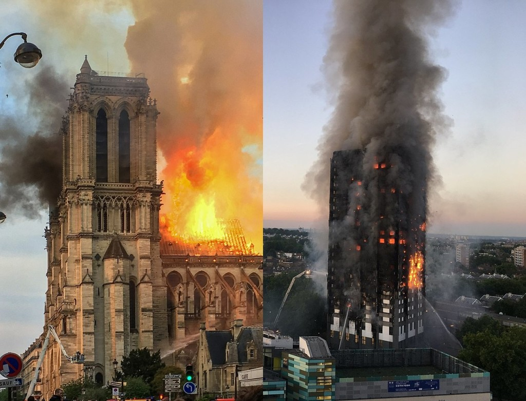 Photos des incendies de Notre-Dame de Paris et de la tour Grenfell à Londres