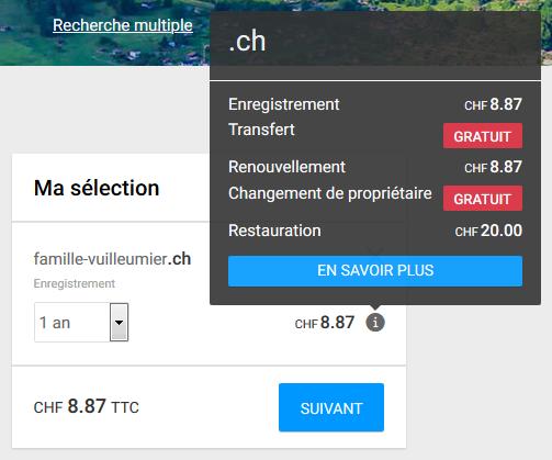Affichage des détails du prix du nom de domaine