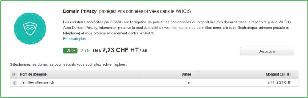 Activation du Domain Privacy